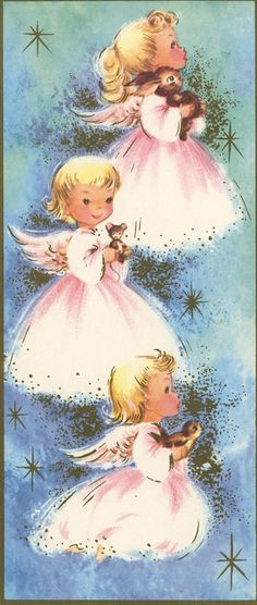vintage Christmas angels holding animals