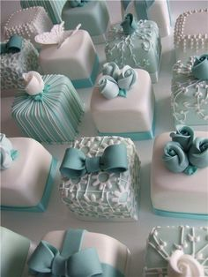 These delicious looking petit fours are great for a Tiffany inspired wedding full of whites and blues.