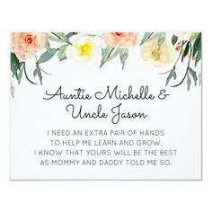 Shop Peach Flowers Will You Be My Godparents Proposal Invitation created by wuyfavors. Godfather Gifts, Godparent Gifts, Rhyme And Reason, Peach Flowers, Watercolor Invitations, Happy Relationships, Create Your Own Invitations, Flower Cards, Zazzle Invitations