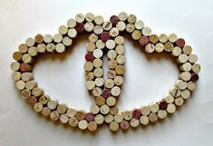 Wine Cork Heart Wall Decor Two Intertwined Hearts Wedding bottle crafts wall L'endroit où acheter et vendre tout le fait main Wine Craft, Wine Cork Crafts, Wine Bottle Crafts, Wine Bottles, Soda Bottles, Diy Cork, Wine Cork Art, Wine Corks, Wine Cork Projects