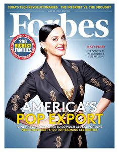 International Superstar Katy Perry Graces The Cover Of Forbes' 16th Annual Celebrity 100 List ~ She made $135k June 2014-June 2015. #yougogUrl!
