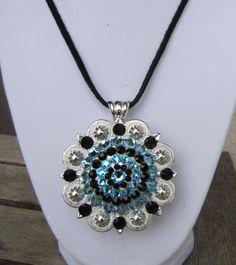 "Diamond B Jewelry - Huge 3"" Pendent Necklaces, Bright Berry w/ Jet & Aquamarine $34.95"