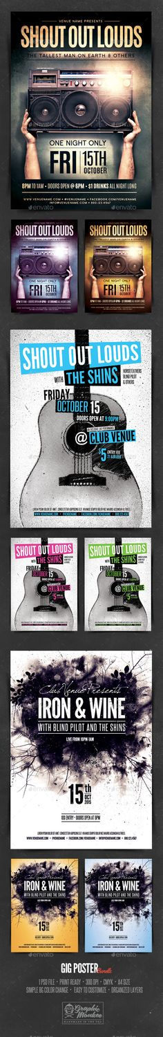 Gig Poster Templates These poster templates were designed with an indie rock style event in mind. They could be used asgig posters or club posters. The PSD files are easily edited via text layers and vector shape PSD File Print Ready 300 DPI C Gig Poster, Club Poster, Psd Flyer Templates, Poster Templates, Invitation Templates, Indie Rock Fashion, Gospel Concert, Concert Flyer, Flyer Layout