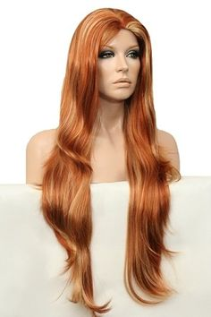 BEAUTIFUL// GORGEOUS // Flowing Long Layers Full Wig //  HFR260 - Henna Red Frosted With Pale Blonde