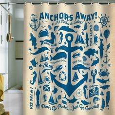 anchors away!! shower curtain. I need this :)