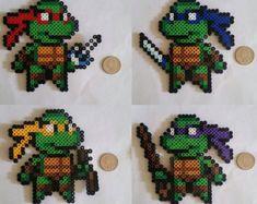 Ninja Turtle Perler Beads by BeadsNWreaths Perler Bead Designs, Hama Beads Design, Diy Perler Beads, Perler Bead Art, Hamma Beads 3d, Pearler Beads, Fuse Beads, Pearler Bead Patterns, Perler Patterns
