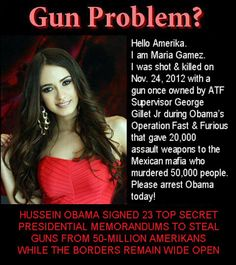 HI, I AM MARIA GAMEZ. I WAS SHOT AND KILLED ON NOV 24, 2012 BY ONE OF OBAMA AND HOLDERS FAST AND FURIOUS WEAPONS!