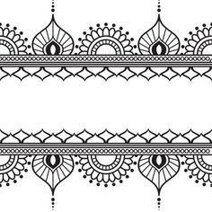 Seamles Border Pattern Elements With Flowers And Lace Lines In Indian Mehndi Style Isolated On White Background. Stock Vector – Illustration of lines, ethnic: 69419586 – Henna 2020 Henna Tattoo Designs, Tatoo Henna, White Henna Tattoo, Henna Art, Hand Henna, Henna Mandala, Designs Mehndi, Mandala Tattoo, Henna Mehndi