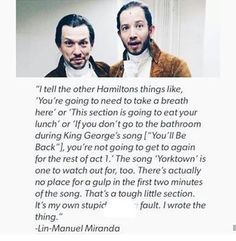 Lol Lin blaming himself for making the musical difficult us so cute
