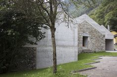 Situated on a rural plot in Switzerland, Ca' dal Mantova brings the land's ancient ruins into the 21st century. The residence is comprised of an... Cement Walls, Concrete Wall, Aluminum Element, Stone Masonry, Ancient Buildings, Reinforced Concrete, Perfect Cup, Ancient Ruins, House Extensions