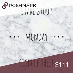*OPEN* closes at 5pm CST Let's have some fun and make some sales!  -SIGN UP BY TAGGING YOUR NAME (example @divaprincess13)   SHARE 4 ITEMS from each closet signed up  - SIGN UP CLOSES AT 5pm CT  -FINISH SHARING BY 12am CT  - PLEASE SIGN OUT after list closes and you've shared all closets.  - You are welcome to start sharing after 8am CT  -LIKE THIS LISTING so you can easily find it.  - Let's have fun and please follow the rules!!! Any questions please ask!!! And let me know if there are any…