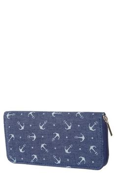 """Super cute navy denim wallet with white anchors.  Three sections inside for credit cards and money with a zippered inside pocket for change.  Shop: https://www.shoppinwithsailin.com/collections/bags-wallets/products/navy-denim-white-anchor-wallet?utm_content=buffer48551&utm_medium=social&utm_source=pinterest.com&utm_campaign=buffer  Size: Approximately 7.5""""W x 4""""T x 1"""" D 3 Interior Sections 8 Slots for credit cards Inside zippered section for change FREE SHIPPING!!!"""