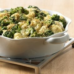 This creamy casserole can be made a day ahead, refrigerated and then baked just before dinner. Using frozen vegetables makes this dish a cinch. - Broccoli Cauliflower Casserole