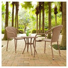 Crosley Palm Harbor 3 Piece Outdoor Wicker Café Seating Set in Light Brown - 2 Stacking Chairs and Round Side Table
