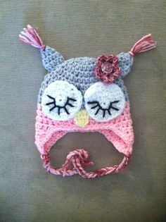 Sleepy Owl Hat Baby Sizes by jhcrafter on Etsy, $10.00