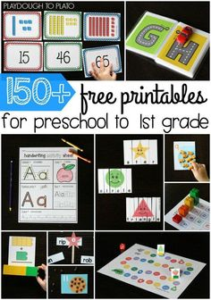 free printables for preschool, kindergarten and first grade. Tons of fun ma… free printables for preschool, kindergarten and first grade. Tons of fun [. Kindergarten Centers, Preschool Kindergarten, Preschool Learning, Literacy Activities, Math Literacy, Math Centers, Free Preschool, Preschool Printables, Free Printables