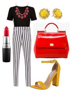 """Untitled #338"" by kola-sara on Polyvore featuring Steve Madden, Ted Baker, Dondup, Dolce&Gabbana, MAC Cosmetics and Kate Spade"