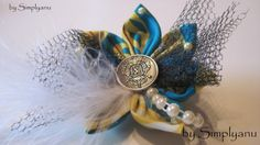 Star Flower Hair Fascinator with Antique Style Button by Simplyanu, $12.00