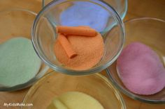 Put salt in a ziploc baggie along with a piece of colored chalk.  Roll around until all salt is colored.  Use colored salt in art projects for kids.