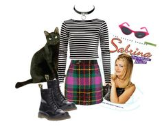 """Sabrina the teenage witch"" by mia-mia-mia ❤ liked on Polyvore featuring River Island, Ashish, Dr. Martens, striped sweaters, choker necklaces, cat eye glasses and tartan skirt"
