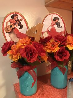 """Elena of Avalor Birthday center pieces. Spray paint (gold and sea foam)  from Walmart ($4/can), flowers from walmart ($1/bundle), """"4"""" from Michael's ($2) Elena  images free clip art online."""