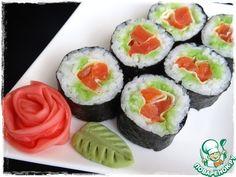 """Роллы """"Роза"""" с лососем - кулинарный рецепт Japanese Sushi, Ethnic Recipes, Food, Essen, Meals, Yemek, Eten"""