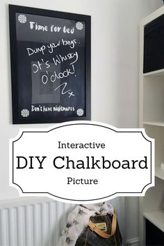 This is a super simple DIY for making an interactive chalkboard picture that's fun for kids and adults alike. Chalkboard Pictures, Diy Chalkboard, Simple Diy, Super Simple, Easy Diy, Apartment Hacks, Handmade Home, Creative Home, Home Crafts