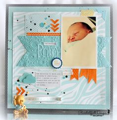 Kai idea: our beautiful little prince, gorgeous newborn layout, love the colors too