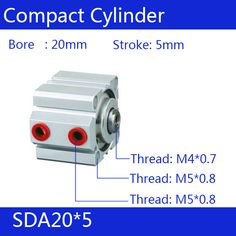 SDA20*5 Free shipping 20mm Bore 5mm Stroke Compact Air Cylinders SDA20X5 Dual Action Air Pneumatic Cylinder #Affiliate