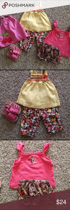 2T lot of 6 Gymboree pieces. Cute set!  3 summer tops, 1 pair shorts, 1 pair capris and  1 pair like new sandals ( size 6). Priced to sell - just $4 per item!) Gymboree Matching Sets