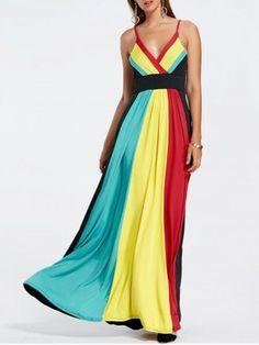 Rainbow Color Maxi Pleated Dress
