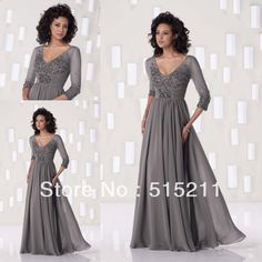 Modest 3/4 Sleeves Silver Gray Chiffon Beaded Long Mother Of The Bride Dresses 2014 Best Selling Gowns $149.99