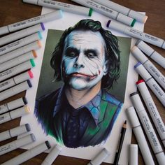 The Joker drawn with Copic Markers and pencils. Copic Marker Art, Copic Art, Sketch Markers, Copic Markers, Alcohol Markers, Copic Sketch, Joker Drawings, Copic Drawings, Disney Drawings