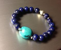 Adjustable Women Bracelet With Sterling Silver Turquoise And Lapis Lazuli FREE SHIPPING