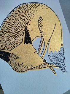 Gouden vossen - set van 3 hand scherm afgedrukt ansichtkaarten