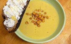 roasted cauliflower soup with crispy chickpeas and ricotta-honey toast ...