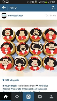 Mafalda Fondant Cupcakes, Cupcake Cakes, Ideas Para Fiestas, Pasta Flexible, Party Cakes, Cake Cookies, Cupcake Toppers, Biscotti, Cookie Decorating