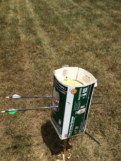 """Made a durable archery target filled a box with """"great stuff"""" expandable insulator can buy it at a local hardware store it's about 8$ to 10$ shot those two arrows from 20 yards at about 45 pounds"""