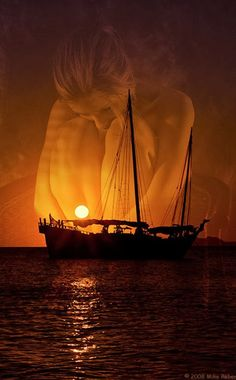 woman and sea Cute Love Songs, Double Exposure, Love Art, Sailing Ships, Moonlight, Beautiful Places, Sunset, Artist, Pictures