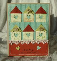 handmade card .. inchie bird houses ... inchies punched from patterned papers with negative space little hearts and triangle roofs ... cute!!