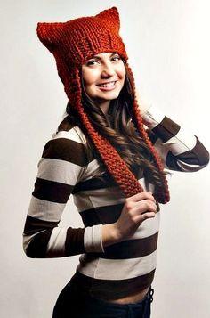Hand Knit Hat Womens Hat - Ear Flap Cat Hat in Rust Orange - Chunky Knit Winter Accessories