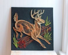 Vintage Deer String Art, Woodland Home Decor, Folk Art, Fall Buck, Rustic Lodge Decor, Forest Scene, Retro String Art, Man Cave Hunter Decor