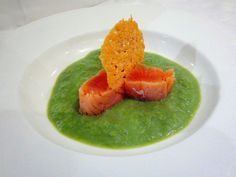 Chilled Pea Soup and Cured Salmon.