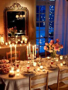 Romantic French dining table candlelight