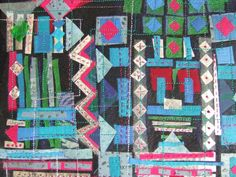 """""""Mexican Pieces"""" by Ingrid Ellis. Framed, no glass. Actual work x Black And White Quilts, New York Beauty, Textile Art, Hand Stitching, Fireworks, Mexican, Textiles, Embroidery, Abstract"""