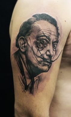 Illusion Dali portrait tattoo Tattoo Studio, Arm Tattoo, Illusions, Black And Grey, Tattoo Black, Dildo, Portrait, Tattoos, Bali