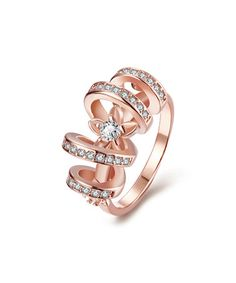 Look what I found on #zulily! Cubic Zirconia & Rose Gold Swirl Loop Ring #zulilyfinds