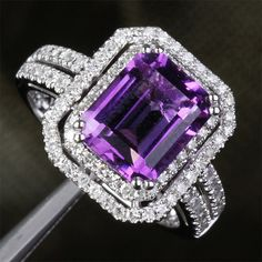 VVS Dark Purple Amethyst & Diamond 5.11ct 14k White by ThisIsLOGR, $770.00 Main Stone:Genuine Natural Amethyst Measurements: 8x10mm Emerald Cut Carat Weight: 4.09ct (VVS)  Accent Stones:Natural Diamonds Carat Weight: 0.92ct