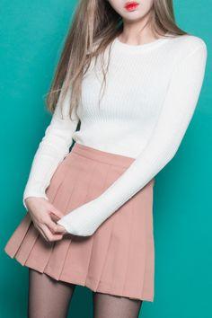 Classic Pleat Tennis Skirt | MIX X MIX | ~ Pink Apricot