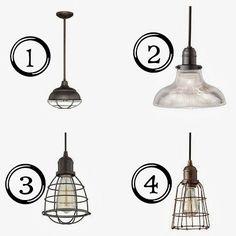 Industrial Pendant Cage Light Options www.BrightGreenDoor.com
